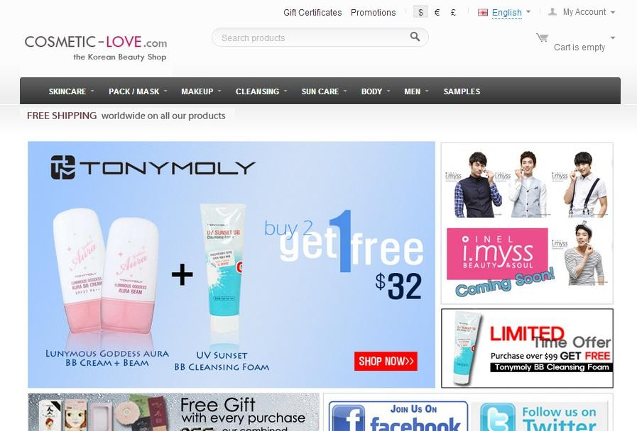 cosmetic-love.com is another good website. They have a wider range of products and brands. Although they offer free shipping with any purchase, the products are shipped from Korea so it might takes up to 3 weeks to get to your front door.