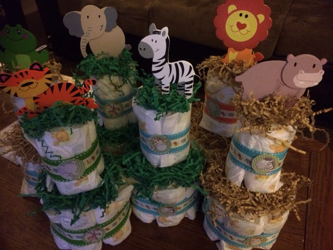 Cute safari center pieces for baby shower