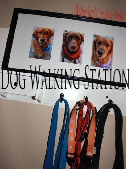 19. Make a dog-walking station for the entryway if you have more than one dog. See how this is done here. http://www.achievingcreativeorder.com/2013/04/dog-walking-station-supplies.html