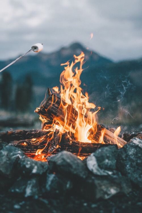 If you're going camping, you have to have a bonfire.