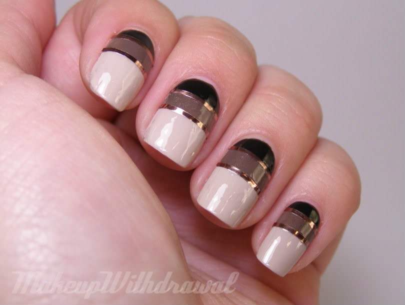 Use tape to make the perfect lines on your nails. It's okay if the tape gets polish on it! Make sure when you make the other lines do not put the sticky tape on over the wet polish. Let the nail dry