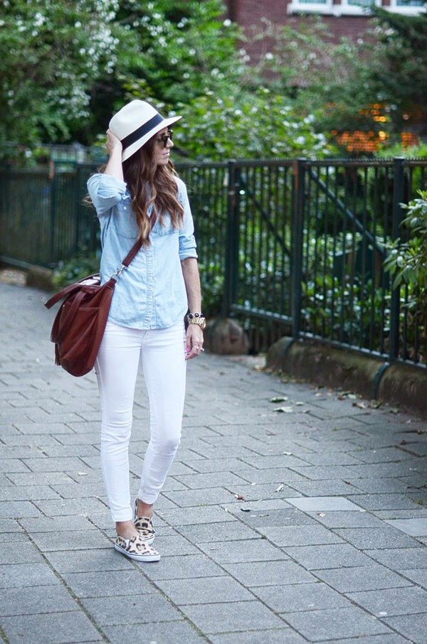19. White jeans go great with a chambray shirt and a summer hat. Finish off the look with patterned sandals or sneakers.