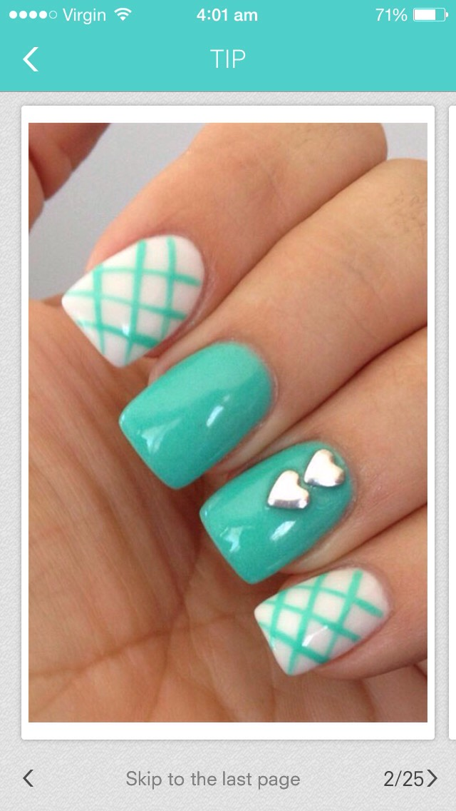 This is my fav! For the index&pinky finger apply a white polish then when dry roughly draw lines in a darker colour then for the second finger apply a turquoise coat then for the ring finger do the same for the index finger but whilst still wet gently add two hearts. Violla!!!!!
