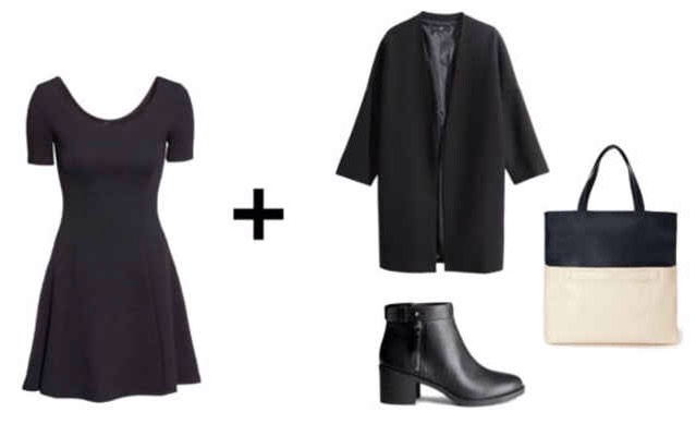 Jump on board the minimalist trend with this sleek, black-and-white look. Layer a simple black coat over your dress, then add a pair of plain black booties and a colorblocked tote.