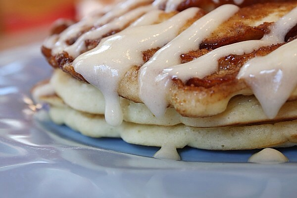 Oh yeah. A warmed cream cheese glaze drizzled on top really completes this pancake. No syrup needed. Let me say that again: No. Syrup. Needed.