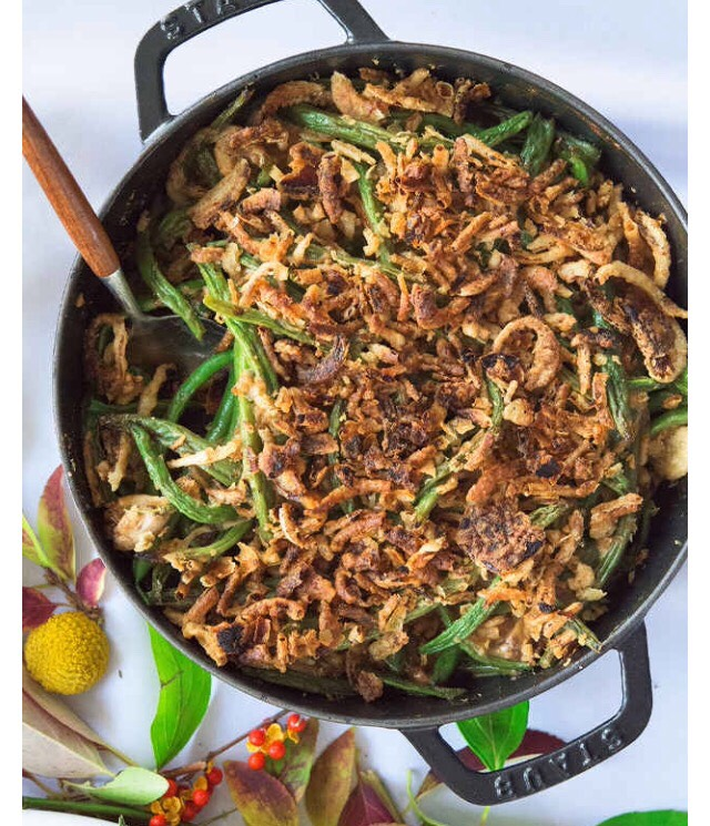 Creamy Green Bean Casserole with Fried Onions