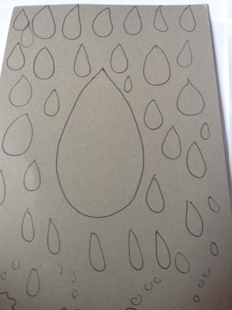 Draw and cut out raindrops