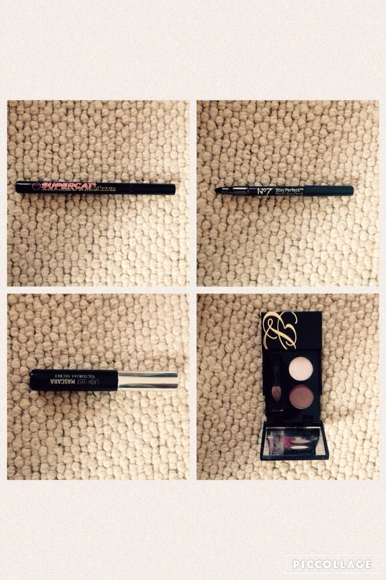 2: EYE STUFF👁  This is for making your eyes pop out and look professional af 😏  Mine: - Lash Lust Victoria's Secret mascara -estee Lauder pure colour eyeshadow in Pink flash shimmer and Smoky Ember shimmer -supercat liquid eyeliner pen in Carbon black -n7 stay perfect eyes pencil
