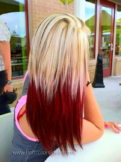 Blonde layers to cherry red 🍒