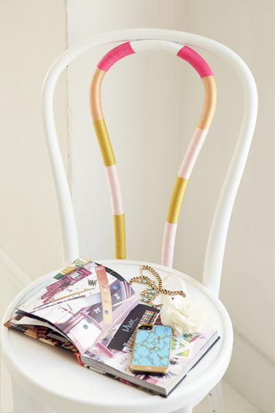 3. String-y Desk Chair Add poppy fun to your desk chair with colorful craft-store string. Just wrap it tightly around the middle bars and cut any loose ends.