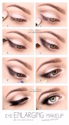 1- Flush the eye with a light eye shadow (ivory/white/cream/light pink pigments will all be ok)  2- Add definition by adding some colour in the crease of the brow (look for pigments that resemble a dark sandy colour, a light dirty brown, alternatively even a darker bronzer will do) and blend.