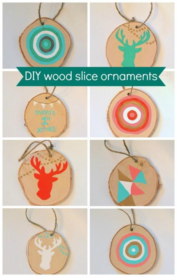 5. Cut off a slice of your Christmas tree and turn it into an ornament for next year…