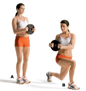 Lunge twist: Targets: Abs, obliques, butt, quads •Stand with feet hip-width apart, knees slightly bent, elbows bent 90 degrees by hips. •Lunge forward with right leg and rotate torso and arms to right. •Rotate back to center as you quickly push off right foot to return to start. •Do 16 reps, alternating sides