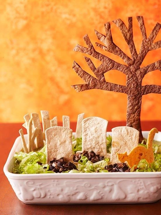 Tombstone Taco Dip  http://www.bhg.com/recipe/poultry/tombstone-taco-dip/