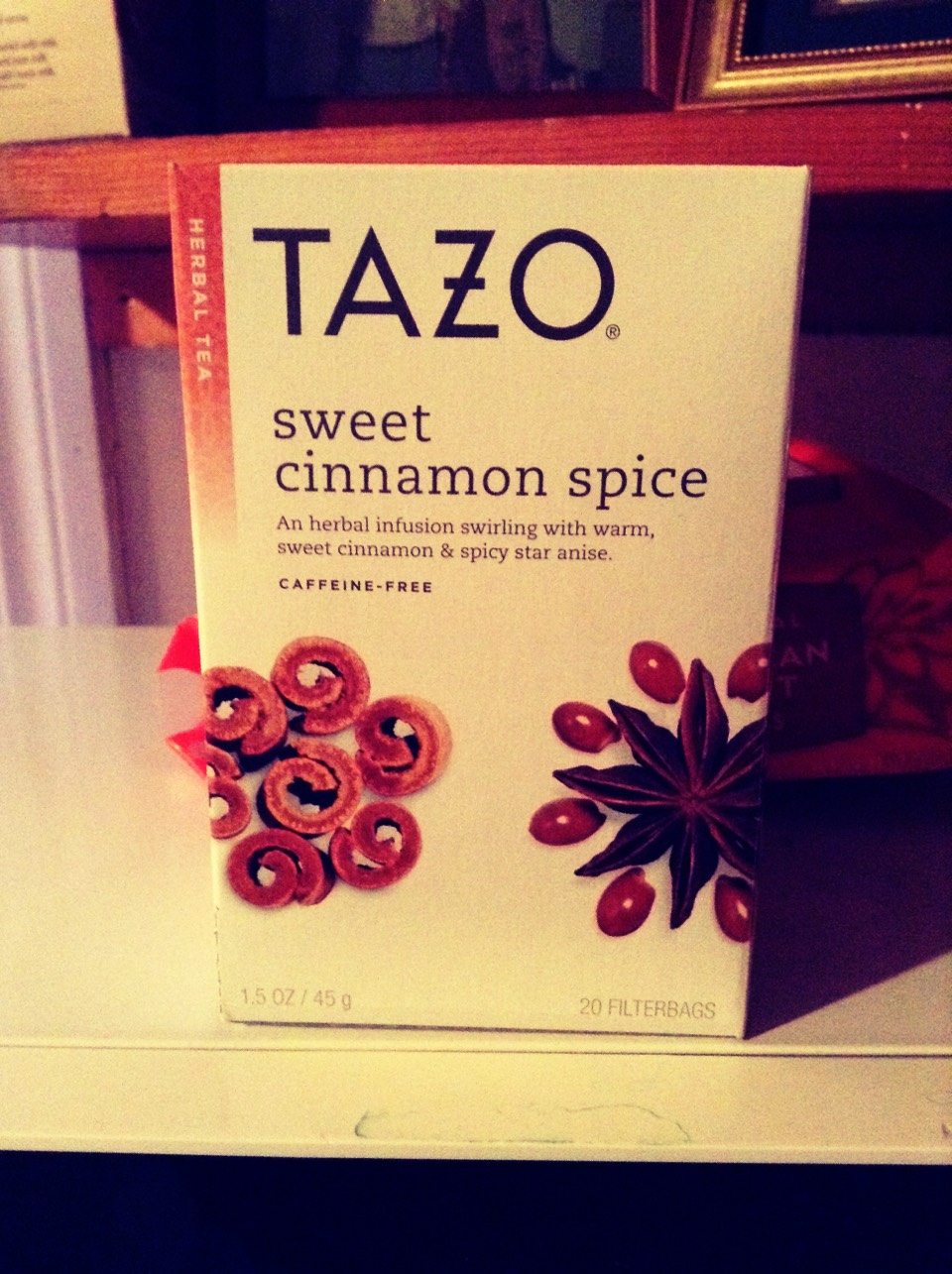 Tazo is number 2 on my list of fav teas, and this is sweet and spicy ^-^ a bit of brown sugar or agave syrup is awesome with this (and there is no caffeine ;) )