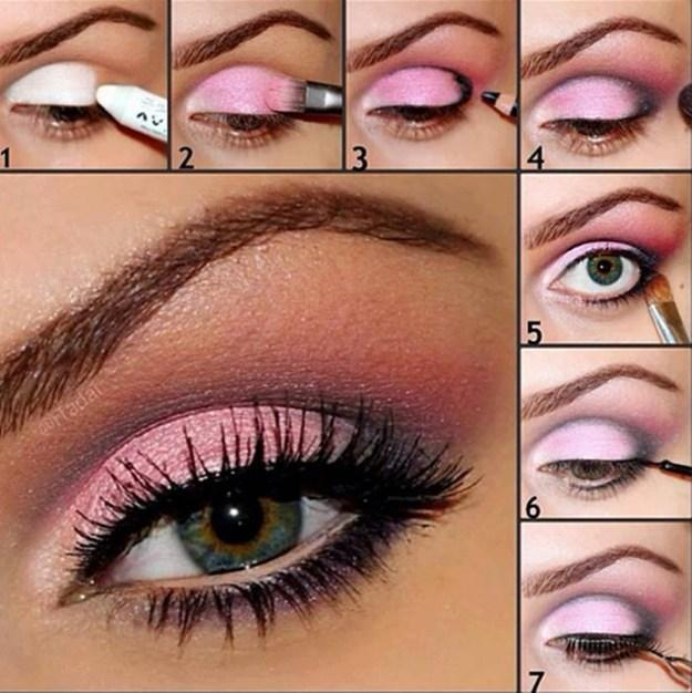 Go bright with pink eyeshadow for spring.