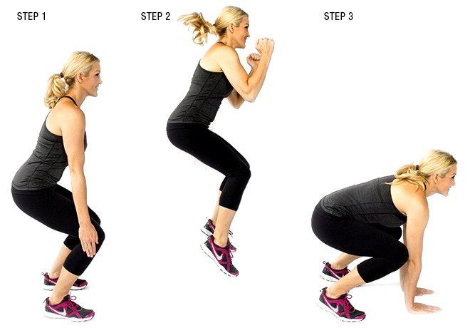 Frog Jumps: This is a wonderful relocate to tighten your internal upper legs and keep your heart rate up!