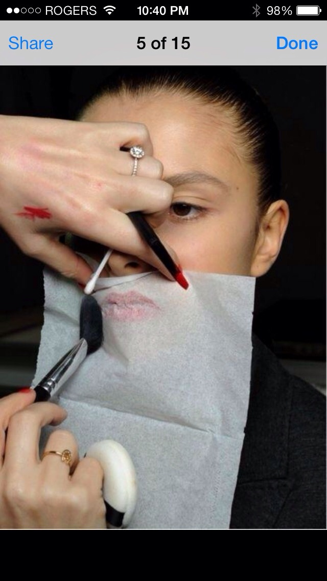 When done putting on lipstick cover with tissue and dust translucent powder over tissue to make it last longer