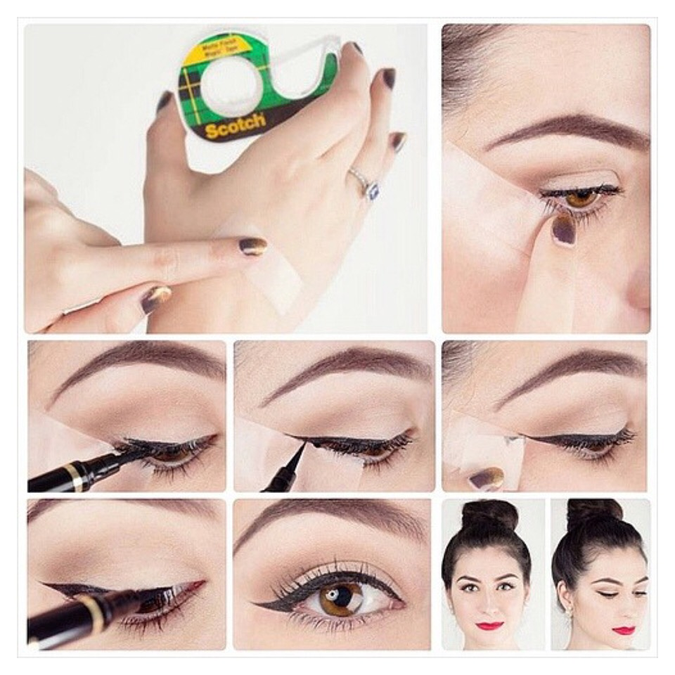 Tip 13: Scotch Tape  Use tape for perfect winged liner