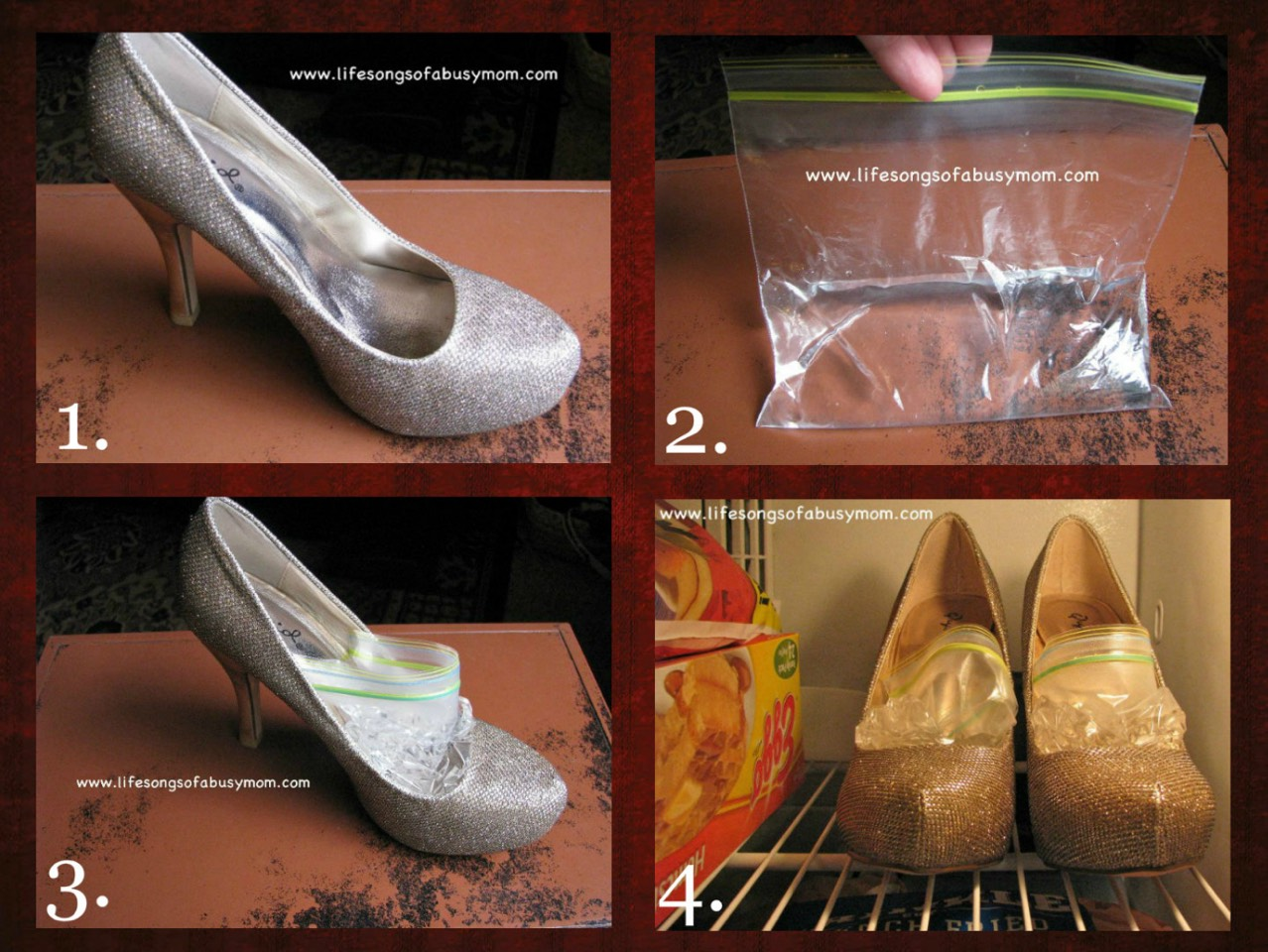 9. Stretch out tight shoes by placing a bag of water in each and leaving them in the freezer overnight.