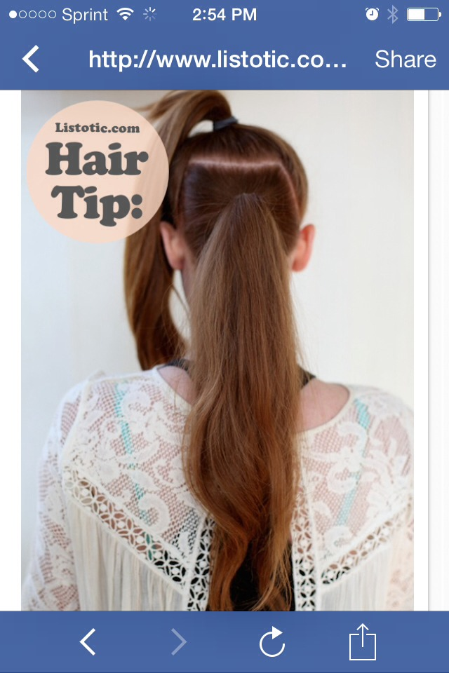 wear a ponytail just about every day. How have I lived so long without knowing this secret?! There's nothing sexier than a super long and full ponytail. And, I have so much hair I think this little trick would work great on me.