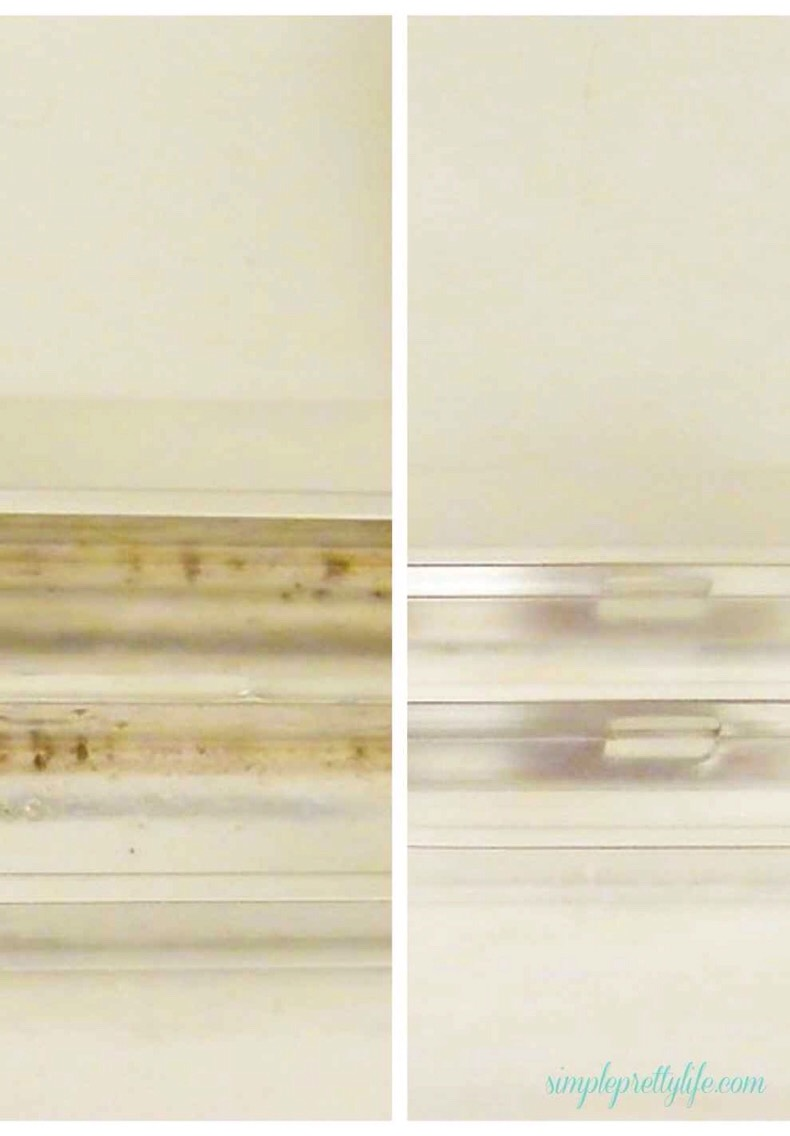 5.While you have the bleach out, use it to spray down your shower door's tracks, if you have them.