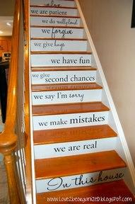 Place wall decals on steps for a unique look.