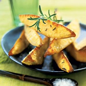 Good to Know When you're frantically searching for healthy side dishes, remember that sweet potatoes are in season during November and December. Loaded with vitamin A, sweet potatoes pack more than double the fiber of regular potatoes.