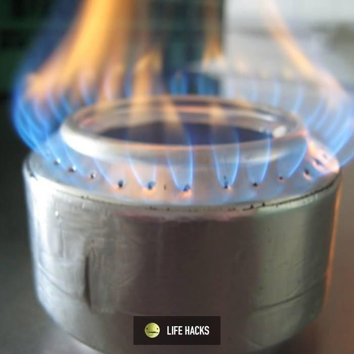 Turn a beer can into a camping stove,  used denatured alcohol or zippo fuel