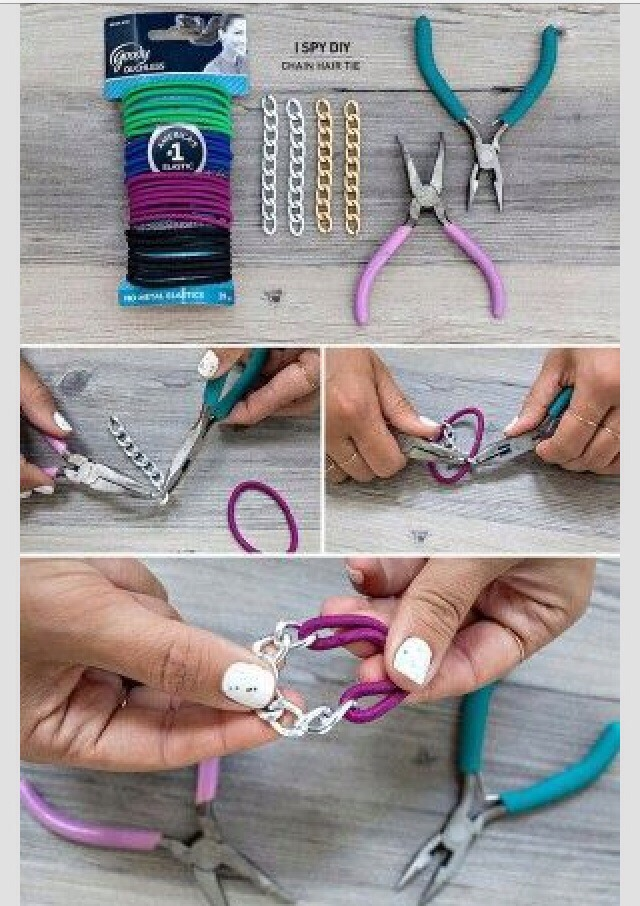 You need..... Hair ties  Little silver or gold things ( I don't know what their called )  And pliers!