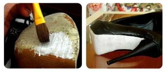 Third: paint the soles white with polish, using a paint brush. Let it dry for 15 minutes or until dry.