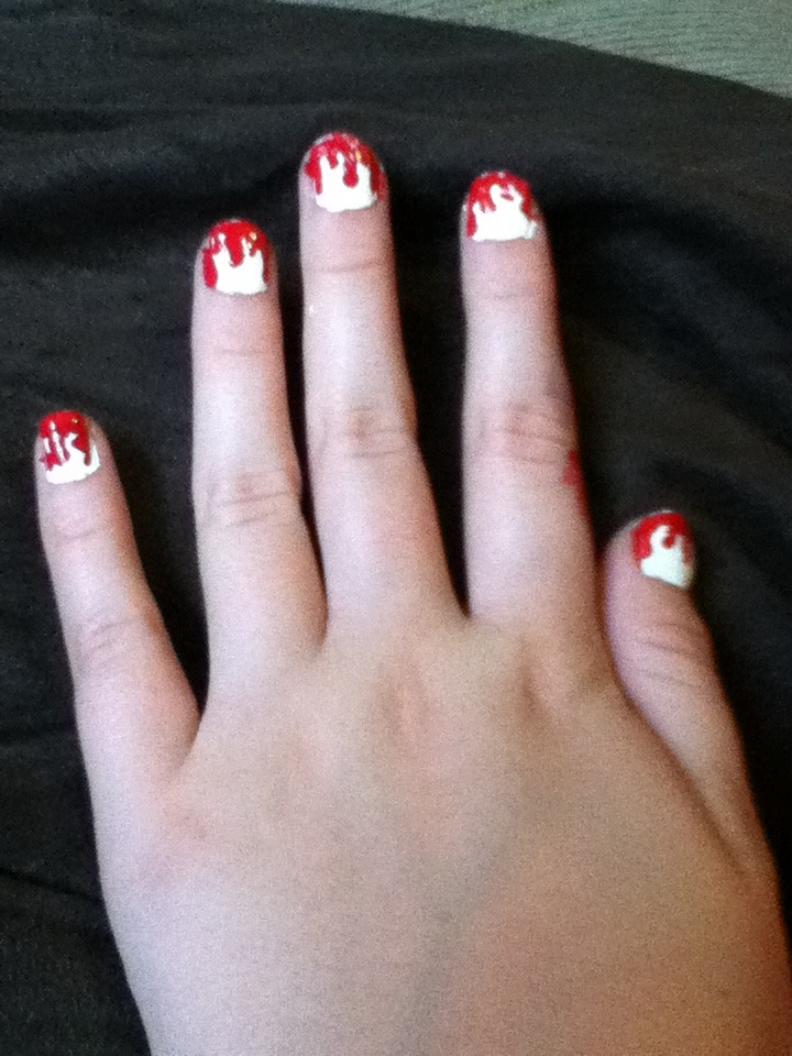 Do each nail to create a dripping blood effect.