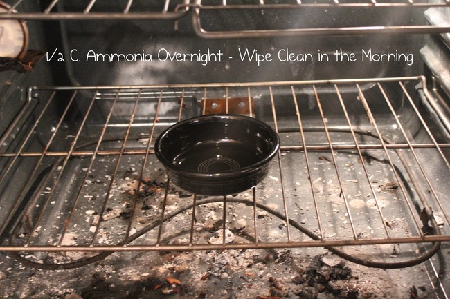 Add half a cup of ammonia into a cold oven and leave over night. Wipe clean with ease the next day.