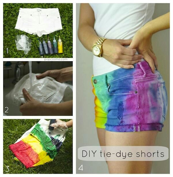 tie-dye your own shorts! want some bright colors in a pair of old shorts? there ya go! enjoy!