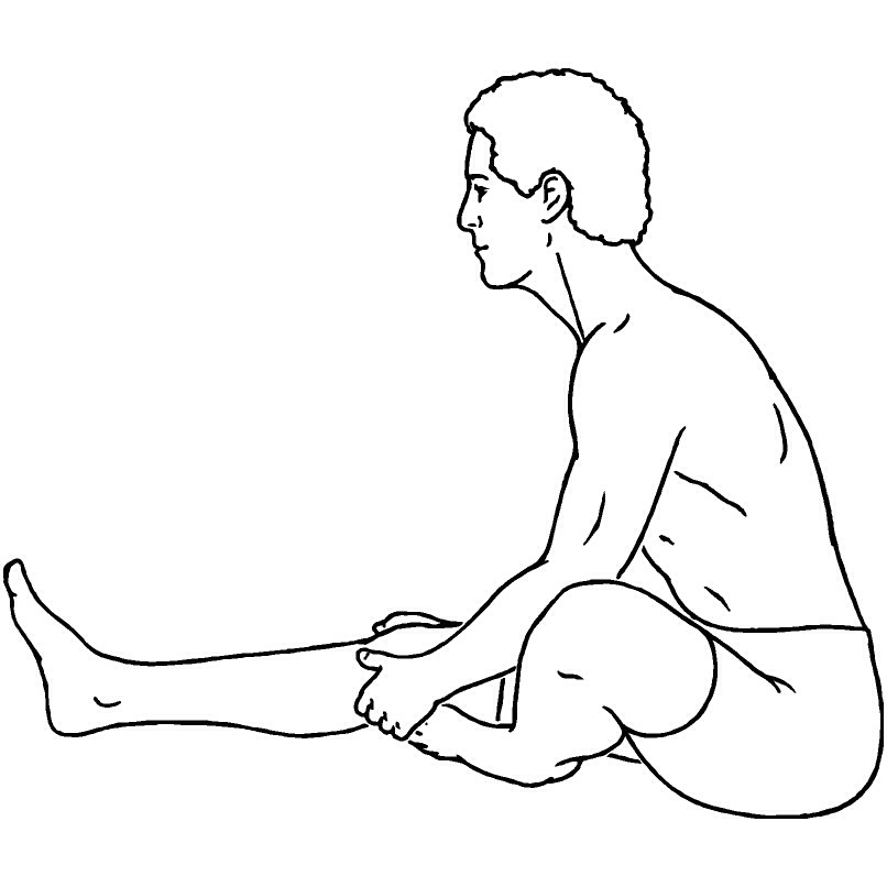Leg reach pose: Just reach for your legs. If there is too much discomfort you can bend your knees. This move is relaxing and cooling.