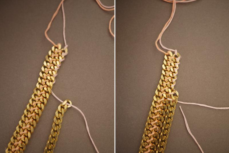 Using a different color flow, weave the floss around the first few links – again leaving about a foot of extra slack. Weave the chain into the necklace using the same technique.
