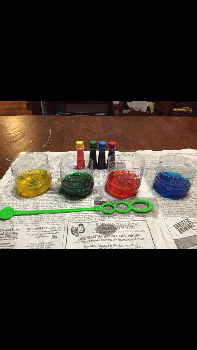 Dip the bubble wand into the mixture and blow onto the paper , the bubbles will pop on the paper leaving awesome splatters and circles !!!  YAY you  have completed the bubble paint DIY !!!!!!