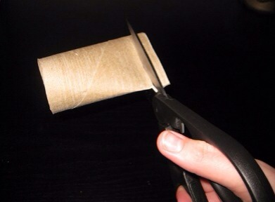Once you have everything start cutting the toilet paper roll like in the picture