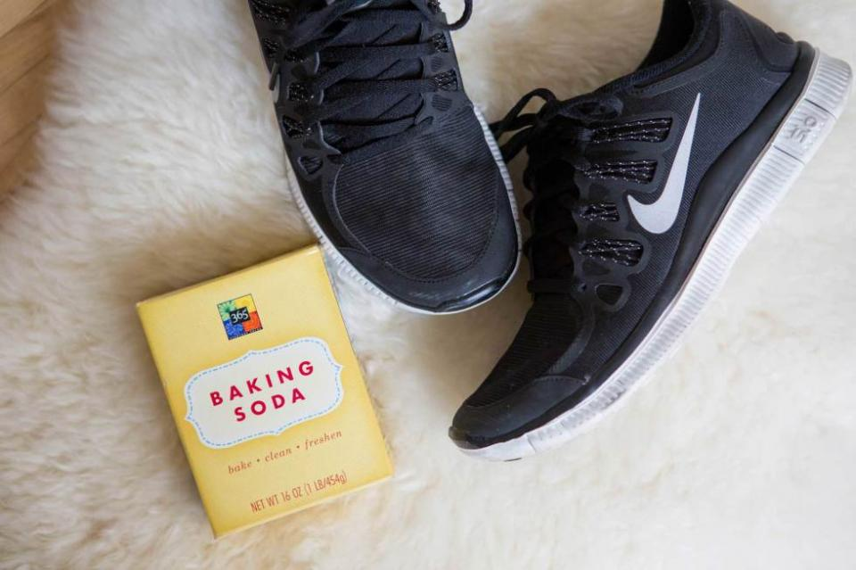 13. Sprinkle baking soda inside your smelly shoes to soak up sweat and odor. Just a little of this stuff can really make a difference.