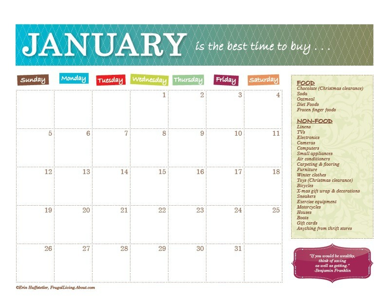 Print out calendar or just look at the list.  Go to: http://frugalliving.about.com/od/calendars/ss/Best-Time-To-Buy-Calendar.htm