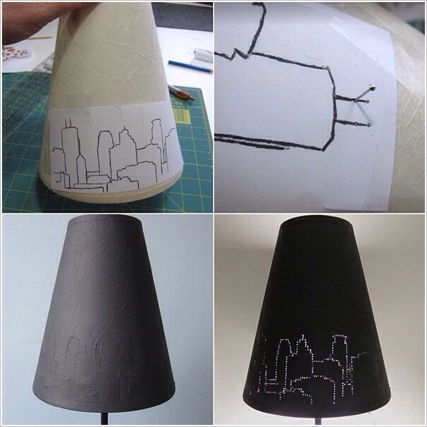 Print or draw a city skyline silhouette on a piece of paper. Fix it on a dark/black lampshade with tape. Then use a pushpin to make holes along the lines of the silhouette. You can make some holes bigger for the star shine effect. Remove paper and there lies the final effect!