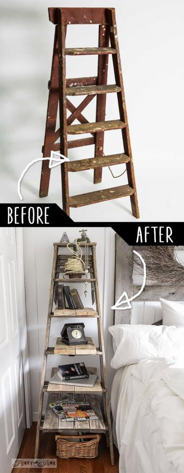 Step Ladder Side Table  http://www.funkyjunkinteriors.net/2014/04/stepladder-side-table.html