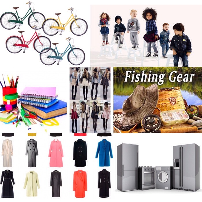 October- children's clothing coats phone winter clothes major appliances school supplies bicycles fishing equipment and women's coats.