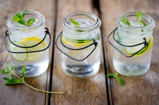 1. Cucumber, Lemon, and Mint Detox Water  Cucumbers, lemon, and mint are a classic spa water combo — the lemon and mint may aid digestion and the cucumber rehydrates along with having anti-inflammatory properties. Recipe: http://onehundredmilesaway.wordpress.com/tag/detox/