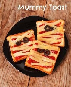 All you need is bread slices, pizza sauce, sliced cheese, and olives.  Please like and share!  Thanks guys!  <3