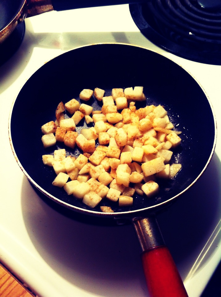 Fry your hash brown bits add any seasoning or salt an fry till brown