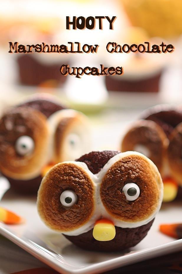 Recipe: http://www.barbaracooks.com/recipe/hooty-marshmallow-chocolate-cupcakes/