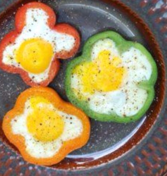 Put egg inside bell peppers and cook