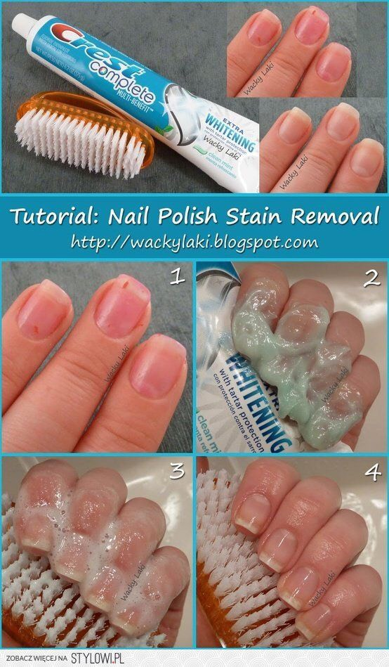 Use toothpaste and an old toothbrush to remove nail polish stains‼️