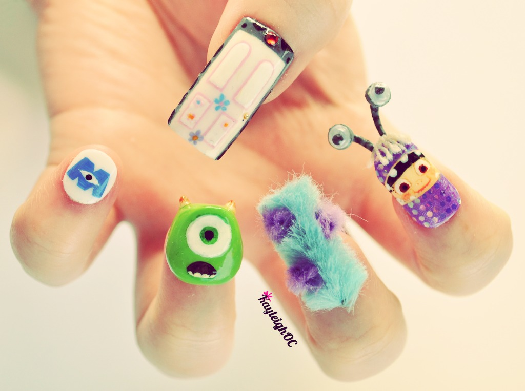 Cute monster inc. nail art